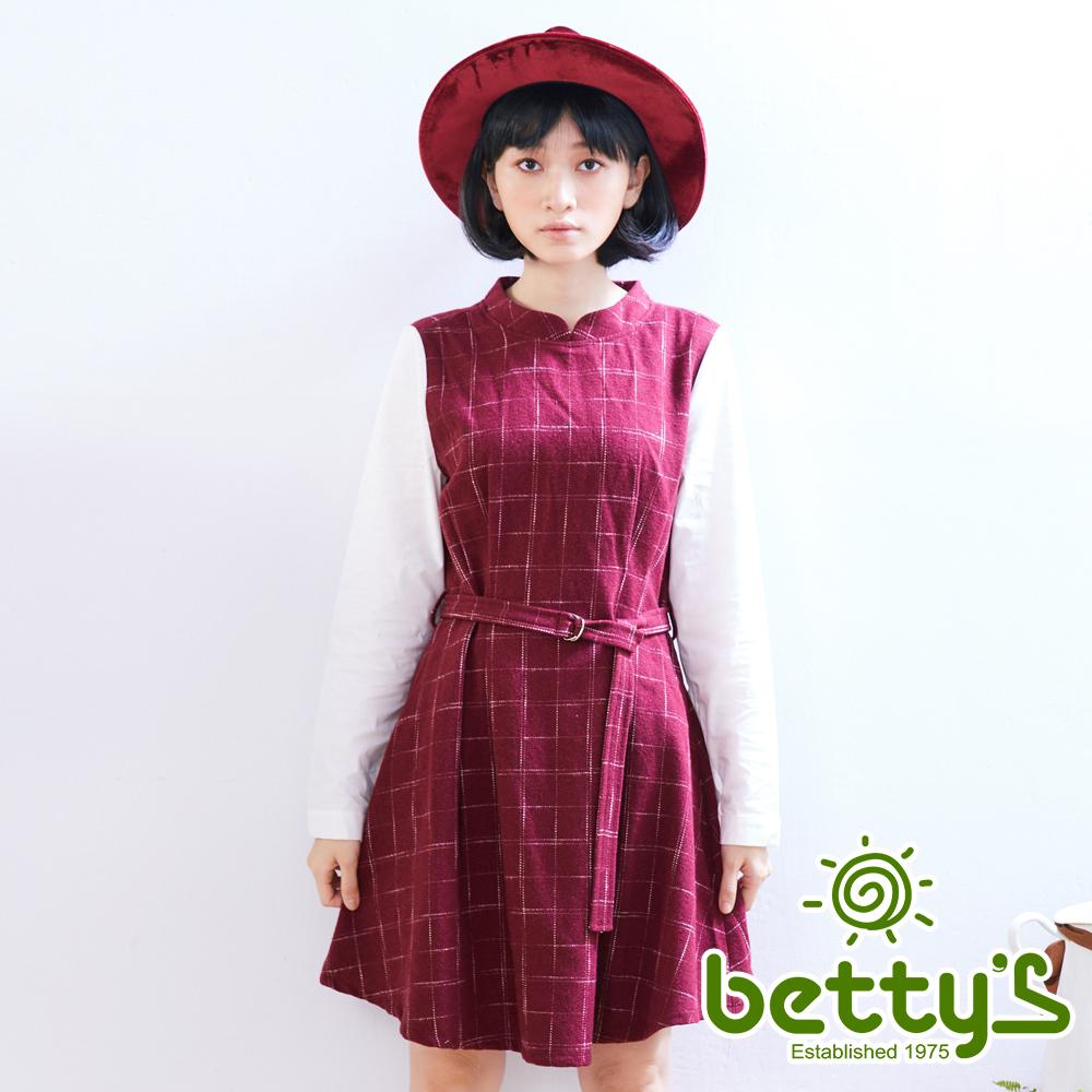 betty's貝蒂思 優雅格紋假兩件式混羊毛洋裝(紅色)