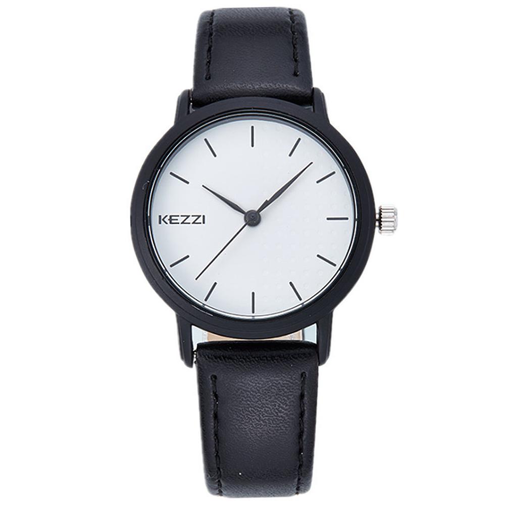 Kezzi-1391簡約學院風黑白色情侶手錶-黑白色x女36mm