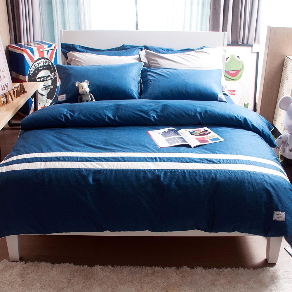 OLIVIA  SMITH 丹寧藍  雙人床包枕套三件組  設計師風格系列