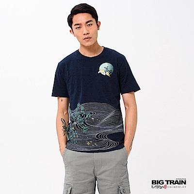 BIG TRAIN 雀意春曉圓領短袖-男-深藍