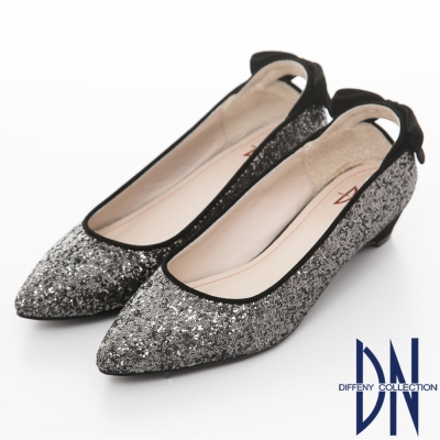 DN-魅力滿分-金蔥閃料時尚蝴蝶低跟鞋-黑