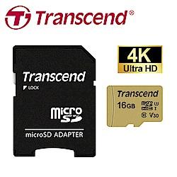 創見 16GB 500S microSDHC UHS-I U3 V30 記憶卡 (附轉卡)