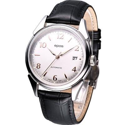 EPOS 經典復古自動機械腕錶-銀白/39mm