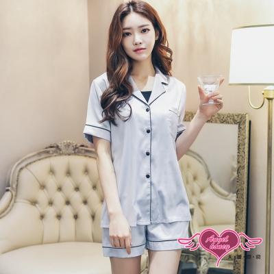 居家睡衣 純粹柔情 二件式短袖襯衫式成套休閒服(灰F) AngelHoney天使霓裳