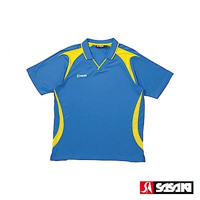 SASAKI 長效性吸濕排汗專業足球短衫-男-西武藍/豔黃