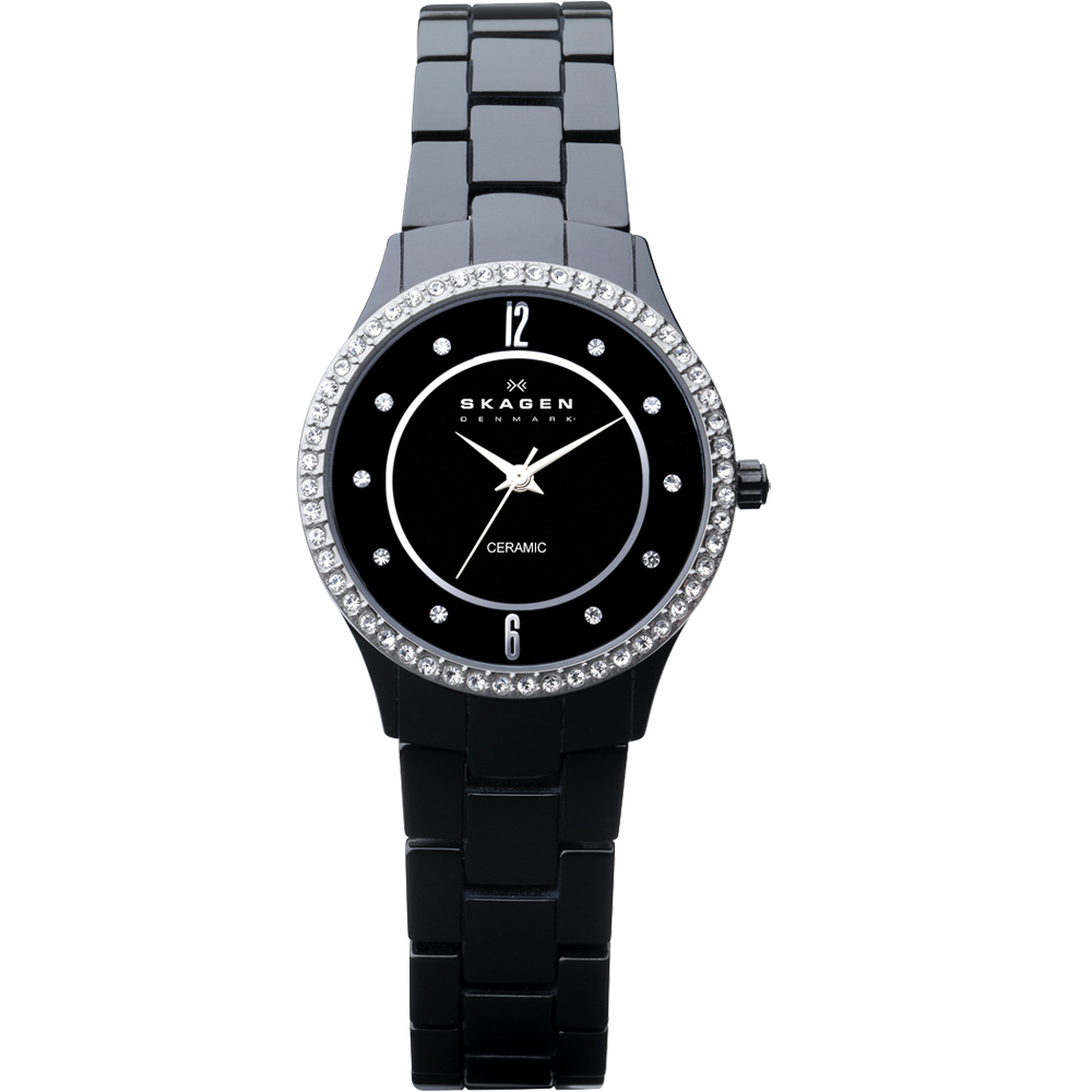 SKAGEN 超薄陶瓷晶鑽時尚腕錶-黑/31mm