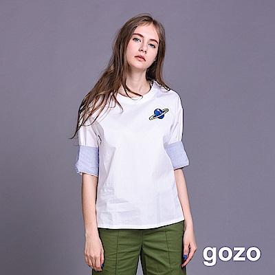 gozo 小行星刺繡條紋反折袖寬版上衣(二色)