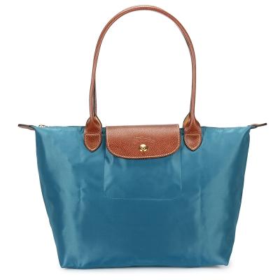 Longchamp-折疊長提把水餃包-小-孔雀藍