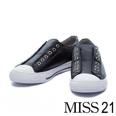 休閒鞋 MISS 21 隨性潮流無鞋帶造型牛皮休閒鞋-黑