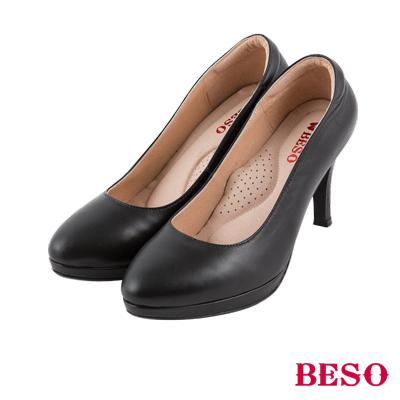 BESO  簡約知性 真皮防刮紋素面尖楦高跟鞋 黑