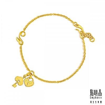 點睛品 吉祥系列 如意鎖襯鑰匙 黃金手鍊