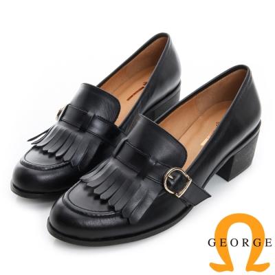 GEORGE 喬治-流蘇皮帶扣樂福真皮中跟鞋-黑色
