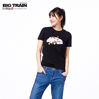 BIG TRAIN 富士山舞扇短袖-女-黑色