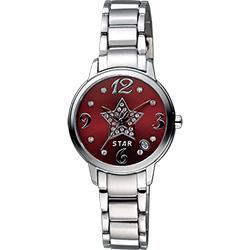 STAR 閃亮之星晶鑽甜蜜女錶-紅x銀/30mm