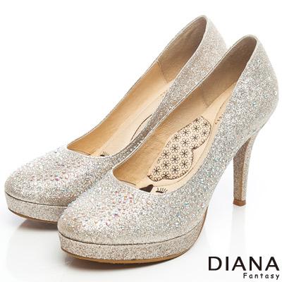 DIANA-超厚切LADY款-奢華閃耀水鑽時尚跟鞋-金