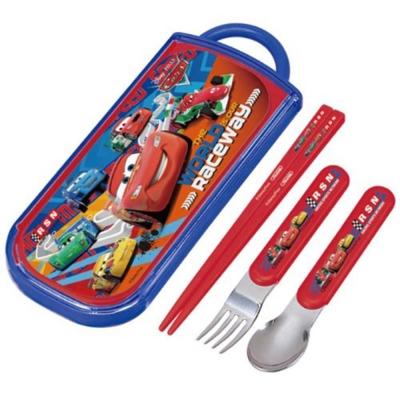 SKATER-迪士尼CARS抽屜式餐具組-藍紅