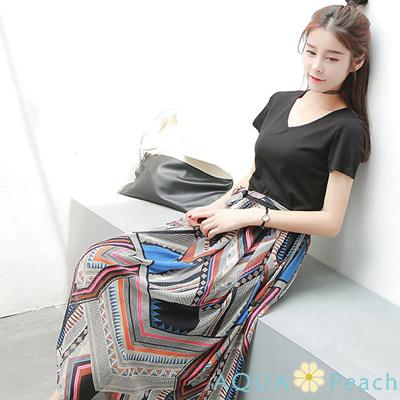 假兩件印花裙綁帶短袖洋裝 (黑色)-AQUA Peach