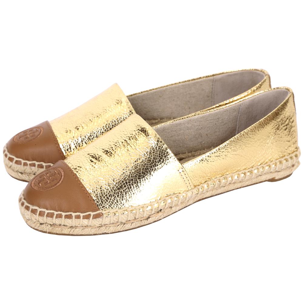TORY BURCH METALLIC COLOR-BLOCK 拼接設計麻編平底鞋