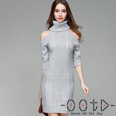 高領露肩麻花花紋長袖針織洋裝 (共四色)-OOTD
