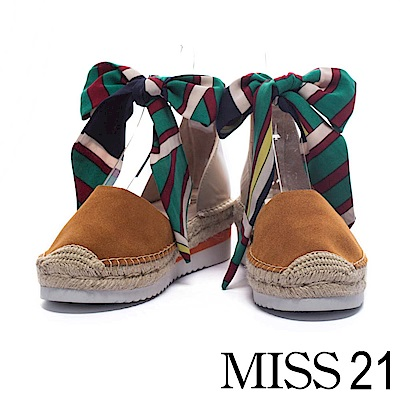 休閒鞋 MISS 21 熱帶度假風純色繫帶牛麂皮草編厚底休閒鞋-駝