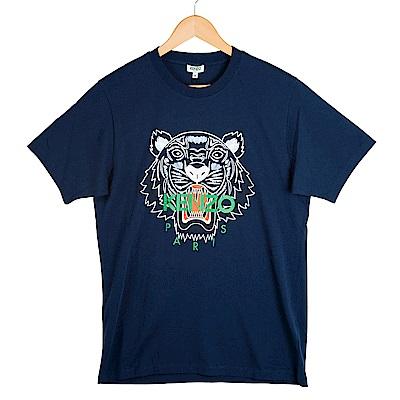 KENZO 彩色印刷虎頭男版短T 深藍色