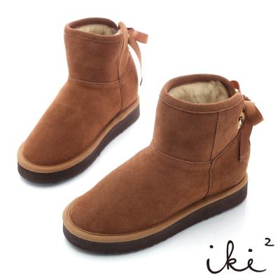iki2機能雪靴系列-法式綁帶金綴飾雪靴-咖