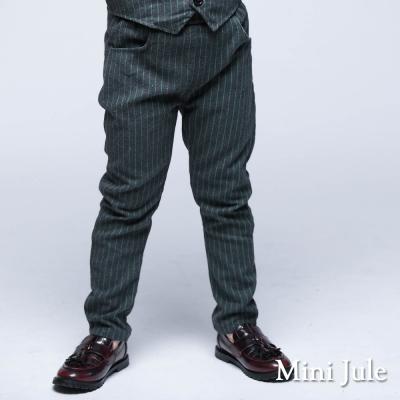 Mini Jule 童裝-長褲 細直條鬆緊腰長褲(綠條)