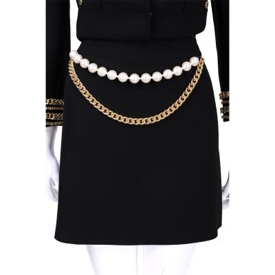 BOUTIQUE MOSCHINO 黑色珍珠鍊飾短裙