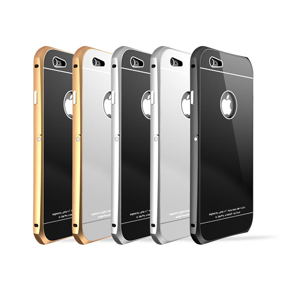 LUPHIE Apple iPhone 6 6S金屬邊框鋼化背殼支架款
