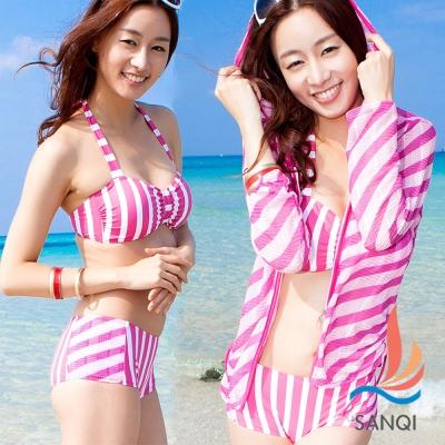 SANQI三奇 陽光閃耀 三件式比基尼泳裝(粉M~XL)