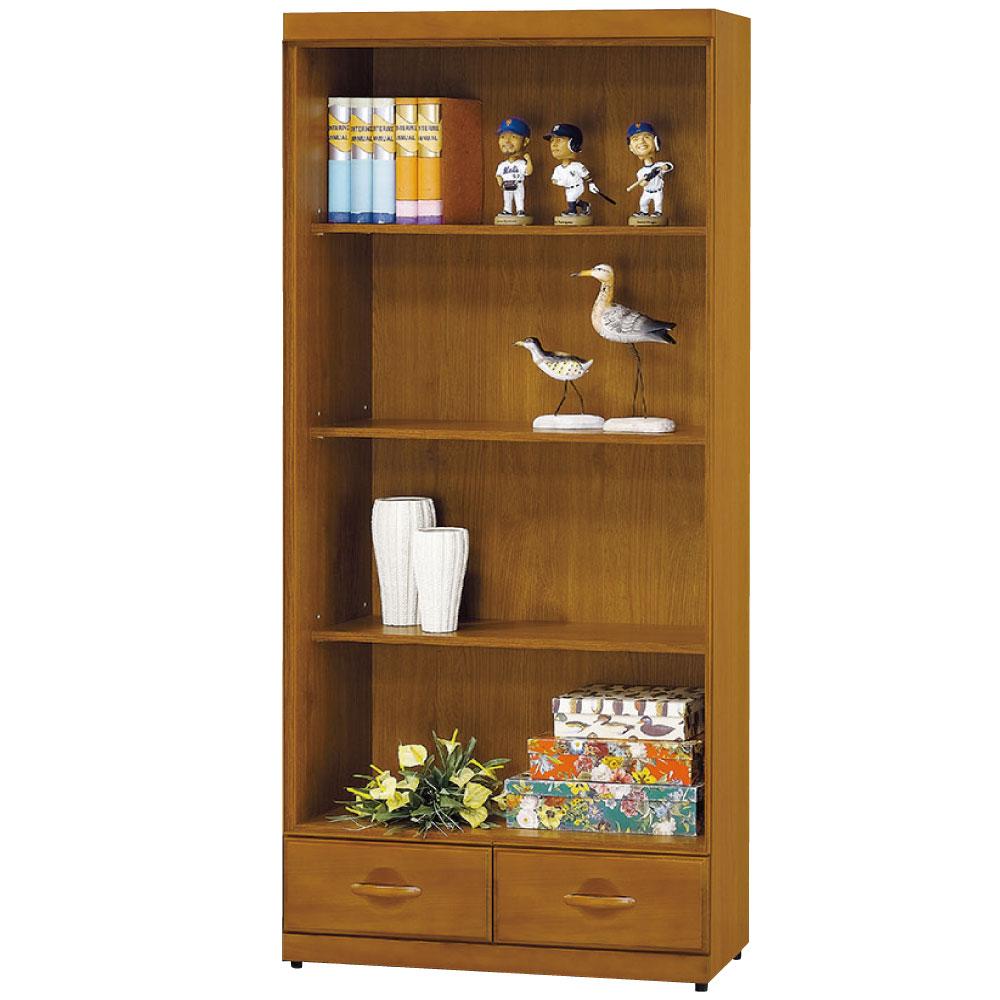 品家居 開羅2.7尺抽木色開放二抽書櫃-80x33x182cm-免組