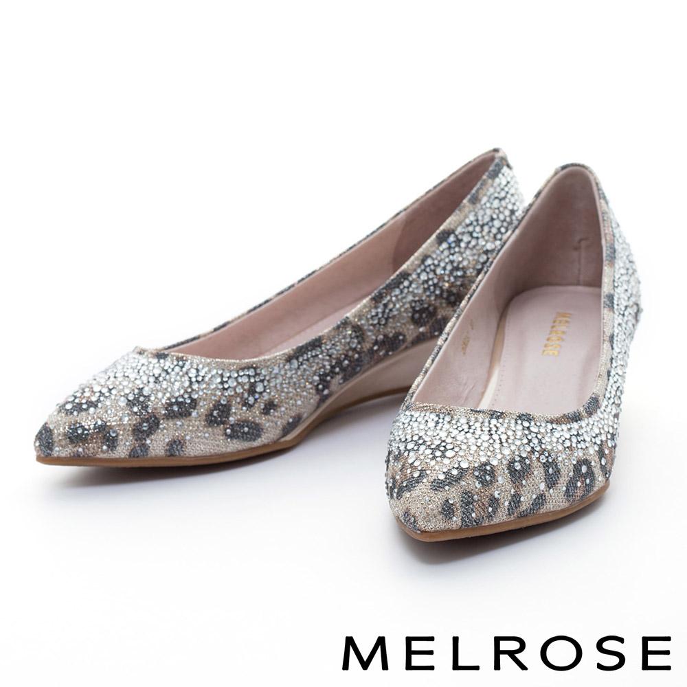 MELROSE 銀河光澤晶鑽尖頭楔型鞋-金