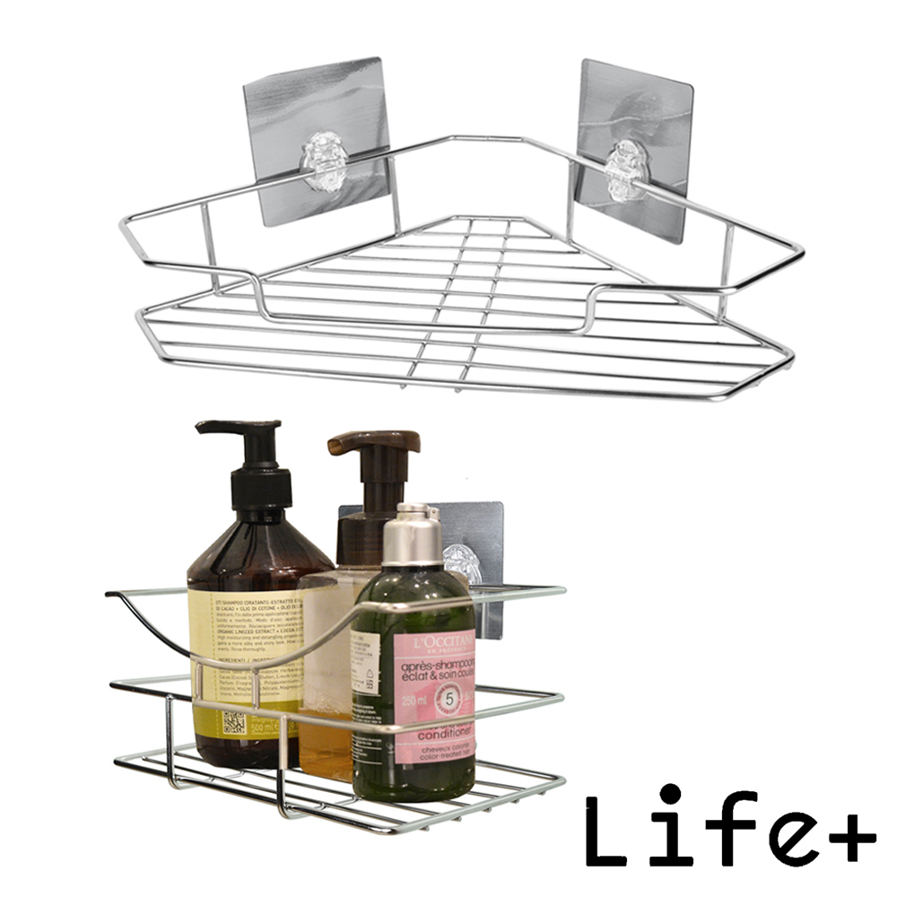Life Plus 環保無痕魔力貼掛勾(三角置物架+瓶罐置物架)