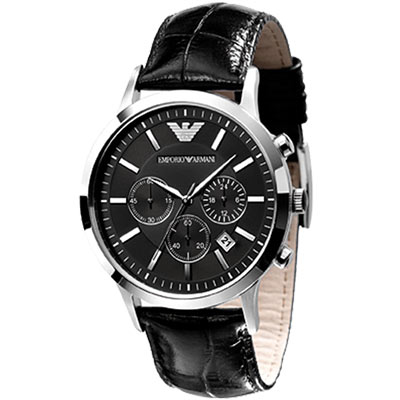 ARMANI 優質型男三眼計時皮帶腕錶-黑/44mm