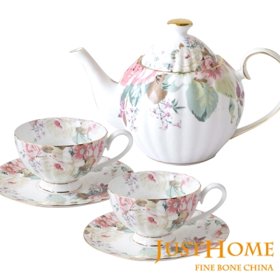 Just Home花漾薔薇新骨瓷1壺6杯午茶組(咖啡杯+壺)