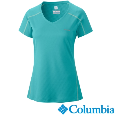 【Columbia哥倫比亞】女-酷涼快排防曬30短袖上衣-綠 UAR69140GR