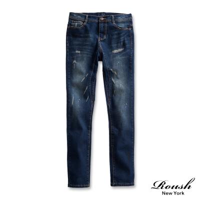 ROUSH-Skinny-韓版噴漆刷痕窄管單寧褲