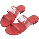 AIR SPACE 簡約細帶平底涼鞋(紅)
