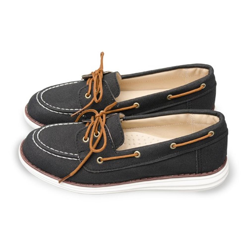 FUFA  MIT  復古水洗抽鬚懶人鞋(FA36)-黑色