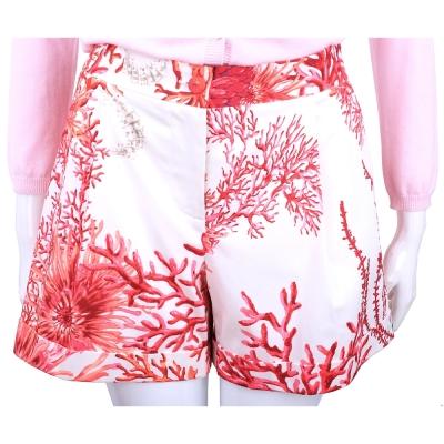 BLUGIRL 紅珊瑚印花打摺修身短褲