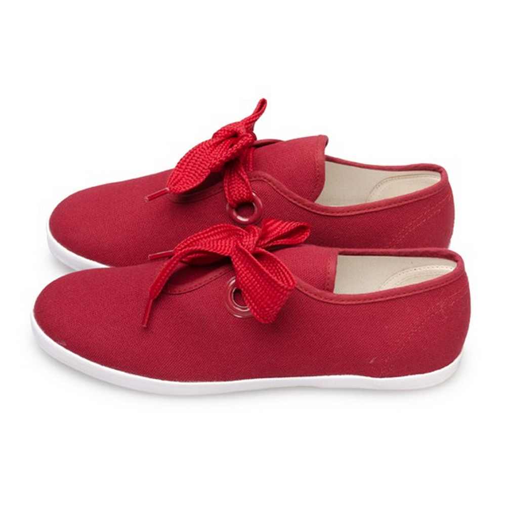 FUFA  MIT  簡約粗條綁帶休閒氣質懶人鞋(M43)-酒紅色