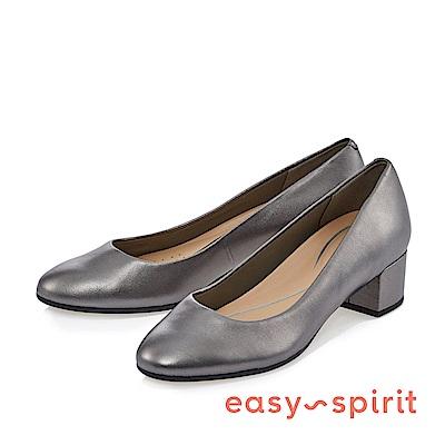 Easy Spirit--OL風素色尖頭中跟鞋-銀灰色