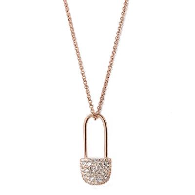 apm MONACO法國精品珠寶 閃耀玫瑰金色別針造型可調整長項鍊
