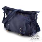 La Poche Secrete 真皮包包-時尚韓風經典Leather學院包-深綻藍