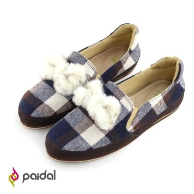 Paidal 甜美絨毛蝴蝶節休閒樂福懶人鞋-格紋棕