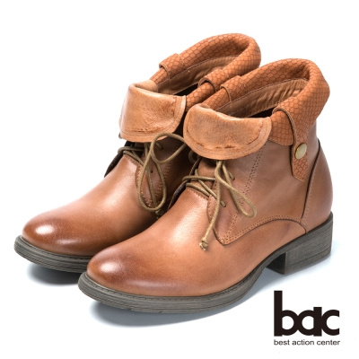 bac雅痞時尚 翻領綁帶真皮短靴-棕色