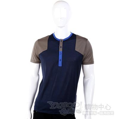 VERSACE 深藍色拼接設計短袖上衣