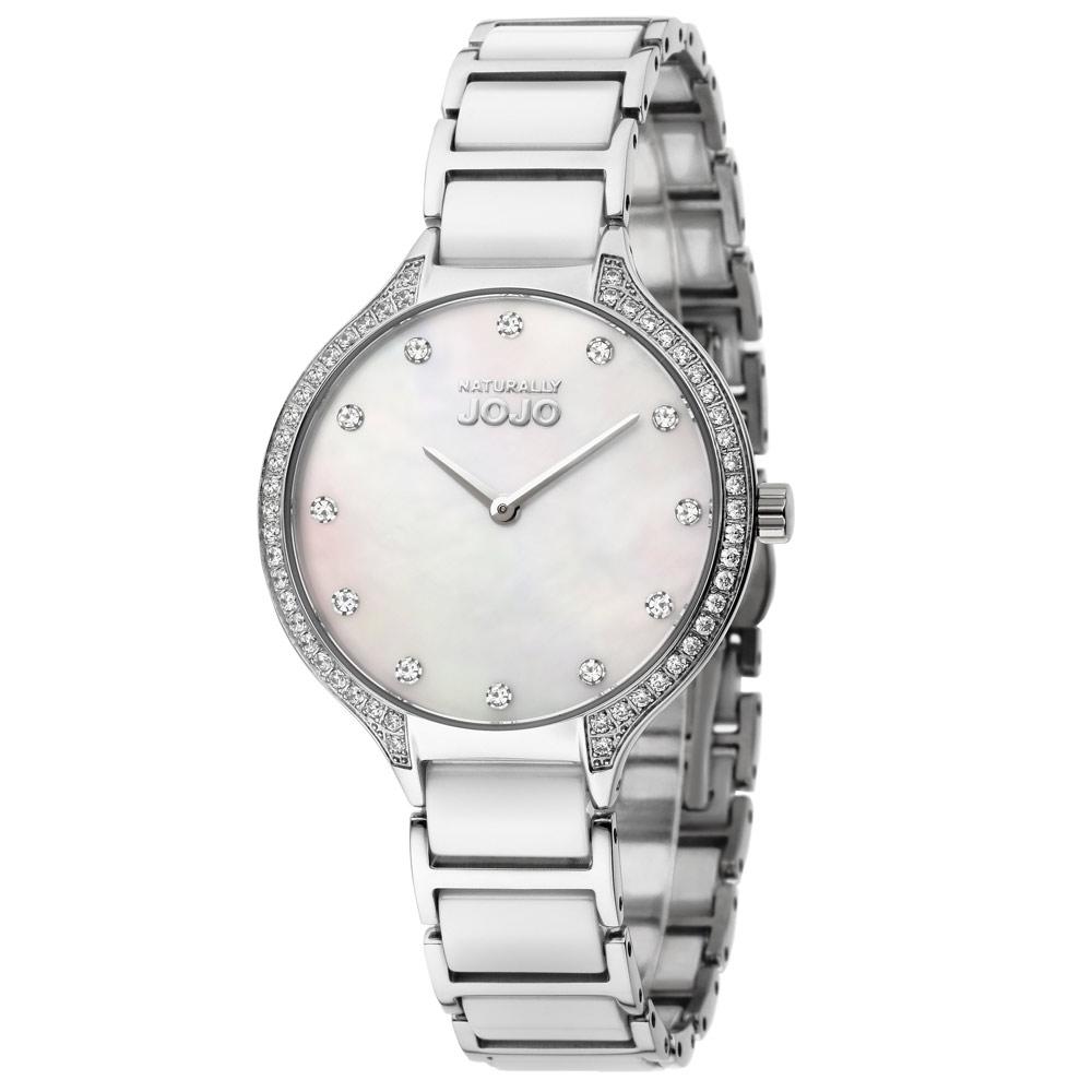 NATURALLY JOJO 經典陶瓷晶鑽時尚腕錶-白/34mm