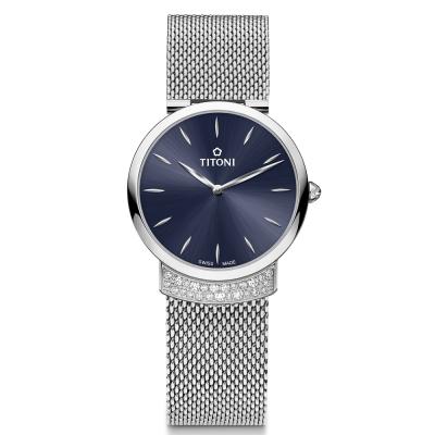 TITONI瑞士梅花錶 優雅伊人系列(TQ 42912 S-591)摩登藍/32mm