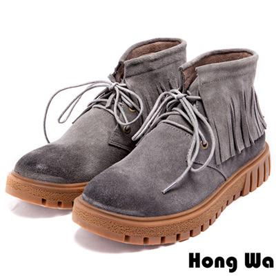 Hong Wa-百搭流蘇繫帶率性牛麂皮短靴-灰